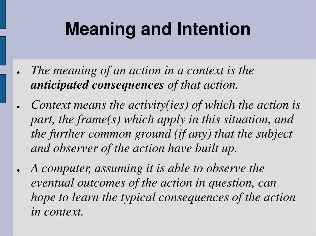Meaning and Intention