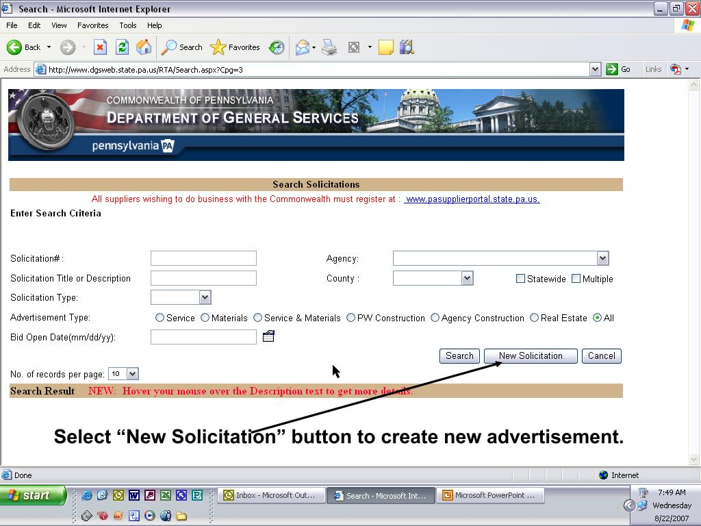 "Select ""New Solicitation"" button to create new advertisement."