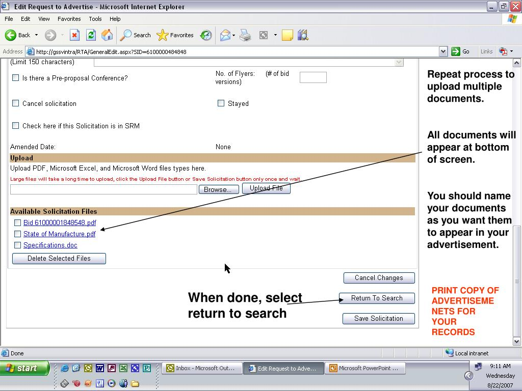 Repeat process to upload multiple documents.