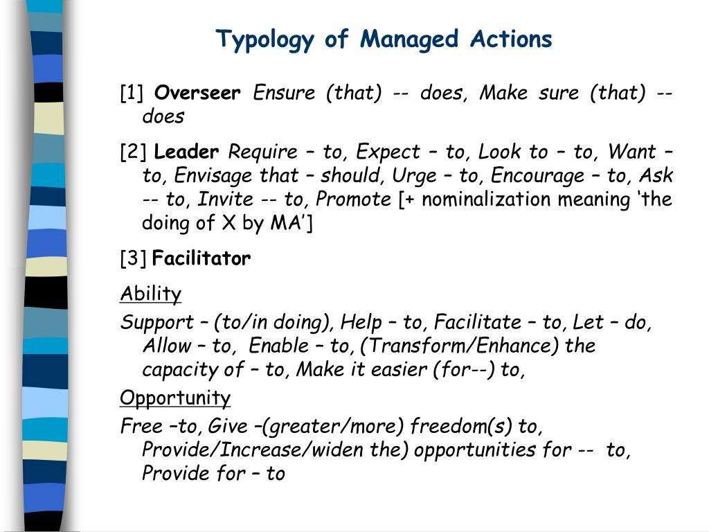 Typology of Managed Actions