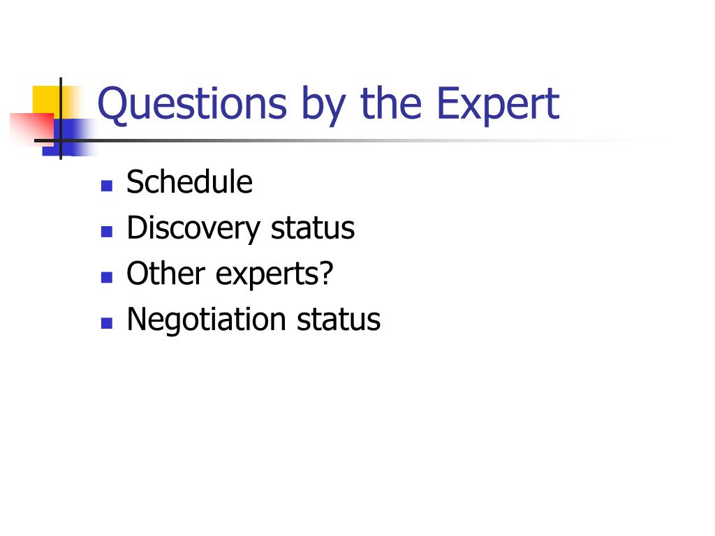 Questions by the Expert