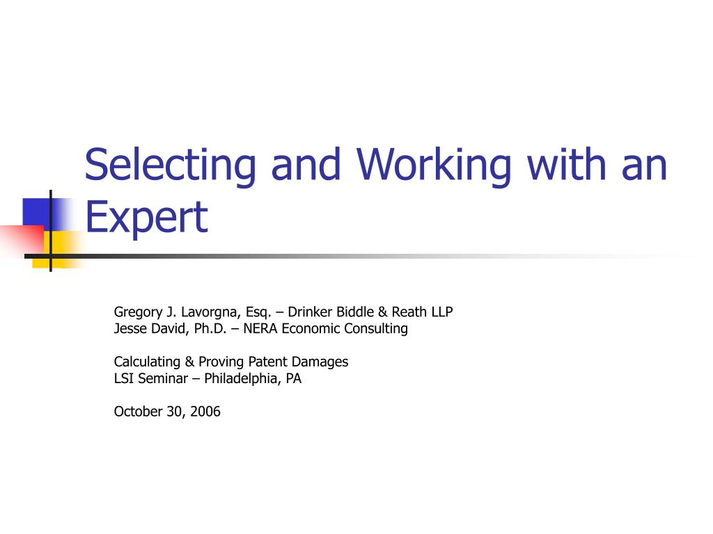 Selecting and Working with an Expert