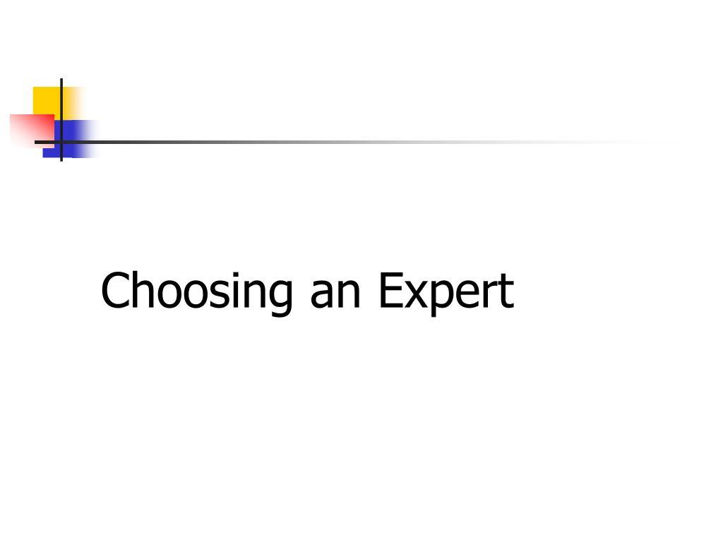 Choosing an Expert