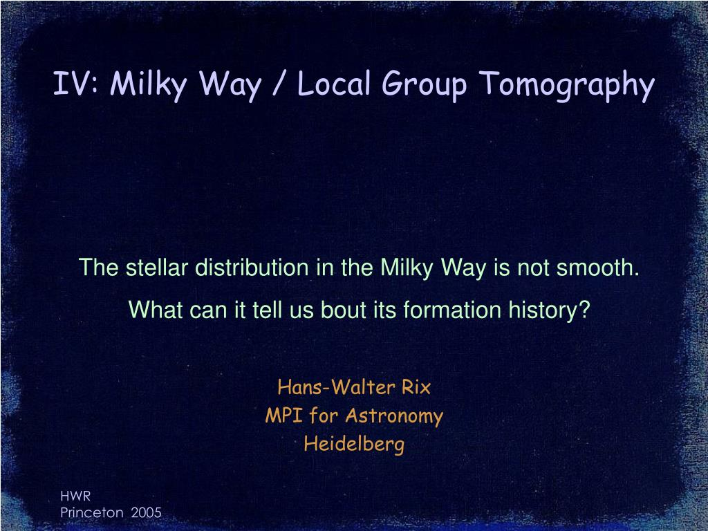 IV: Milky Way / Local Group Tomography