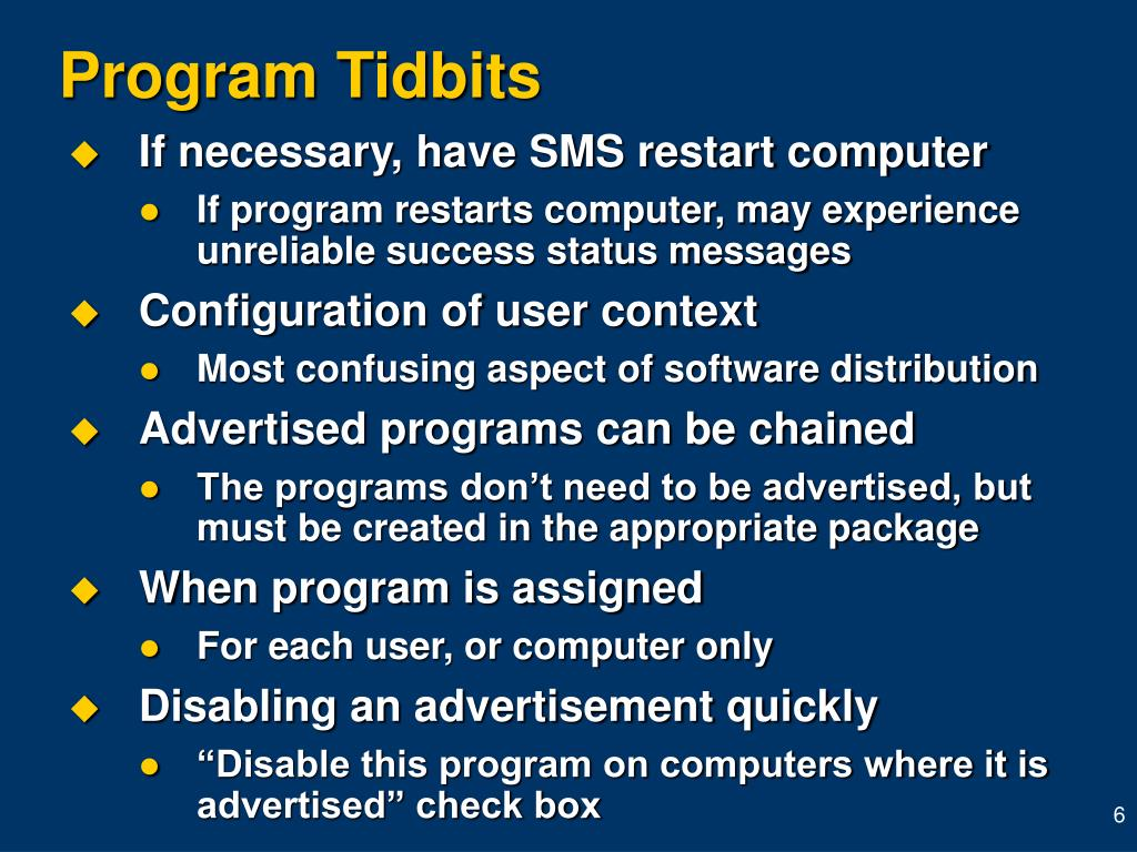 Program Tidbits