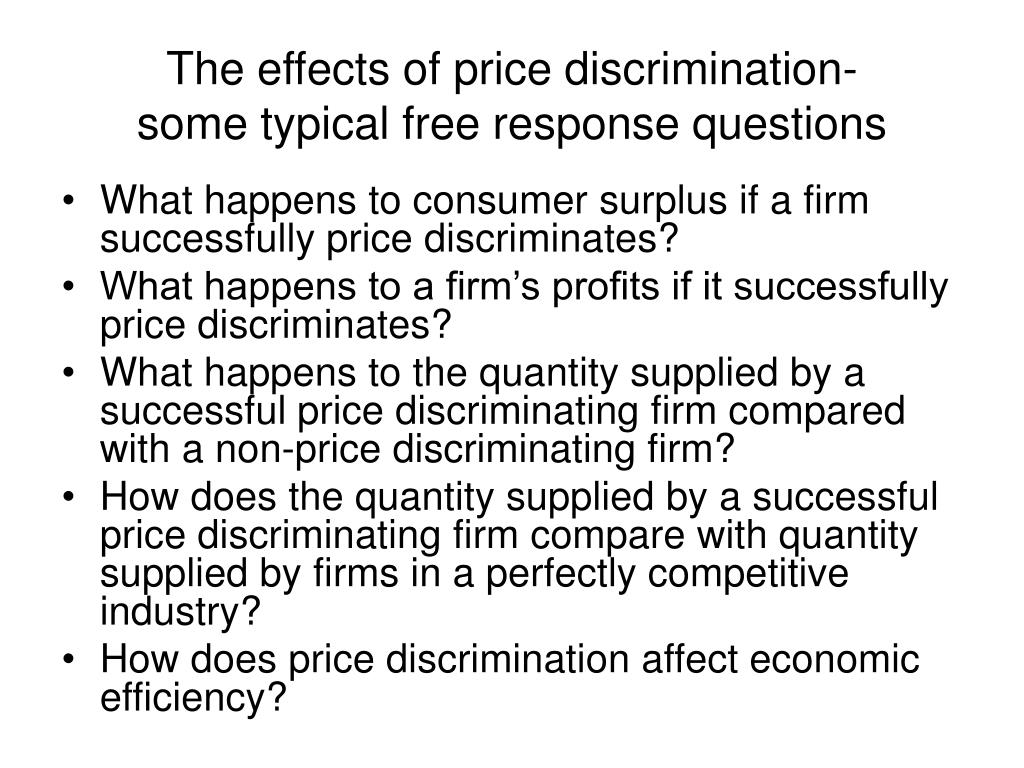 The effects of price discrimination-