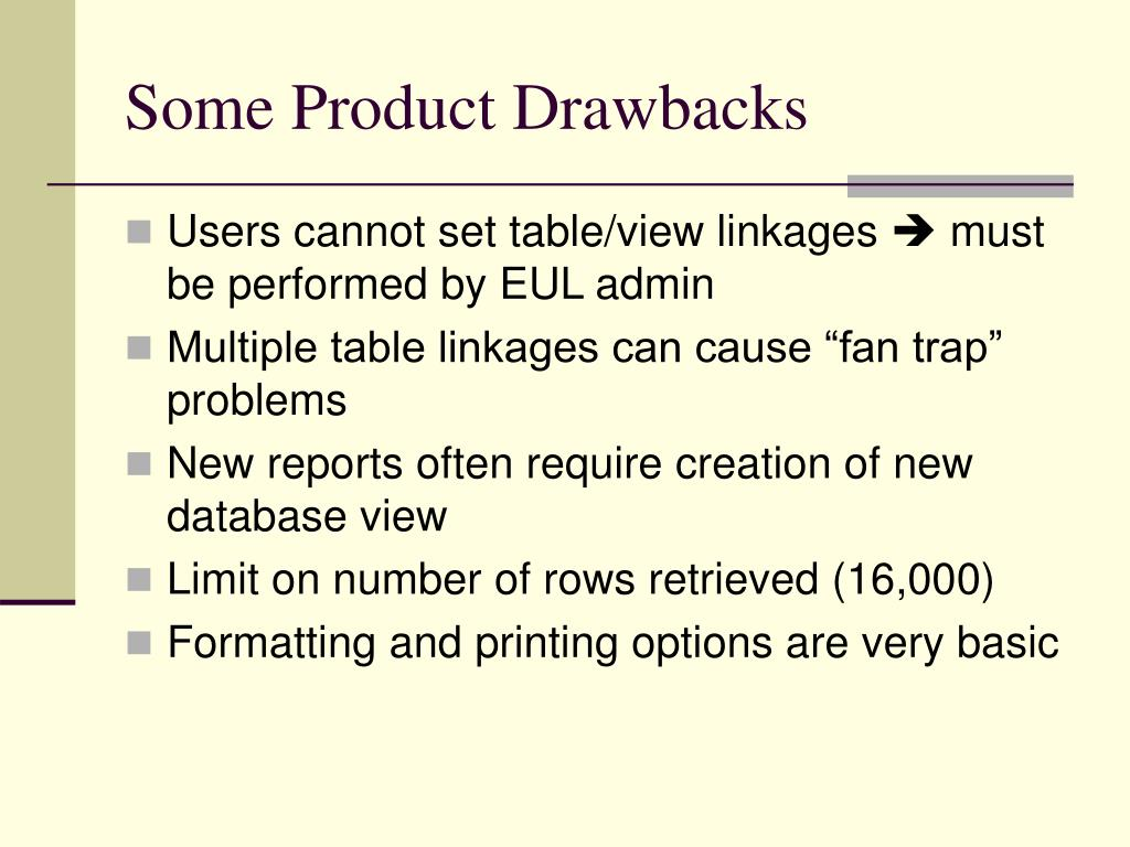 Some Product Drawbacks