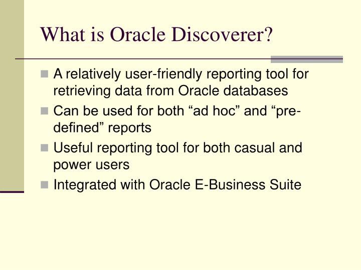 What is oracle discoverer