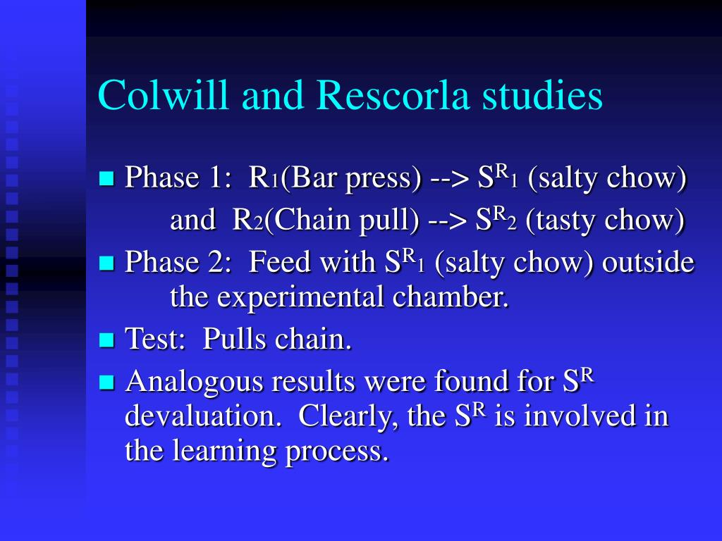Colwill and Rescorla studies