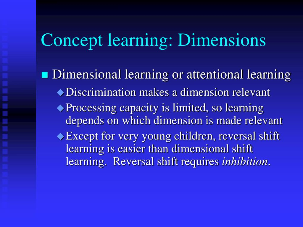 Concept learning: Dimensions