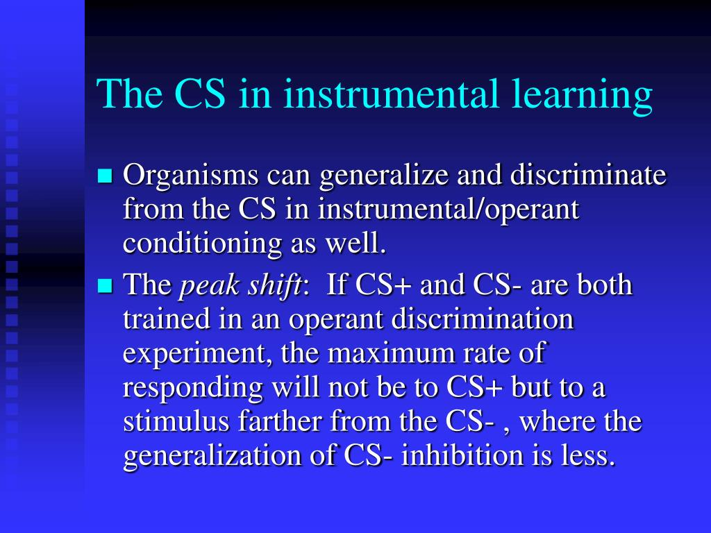 The CS in instrumental learning