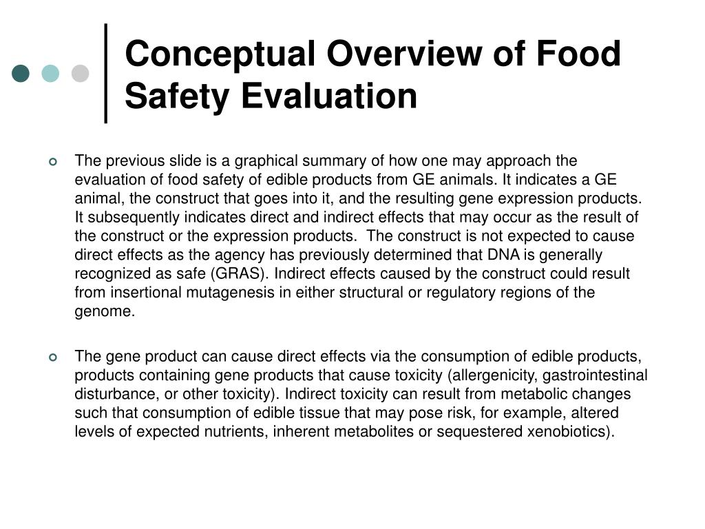 Conceptual Overview of Food Safety Evaluation