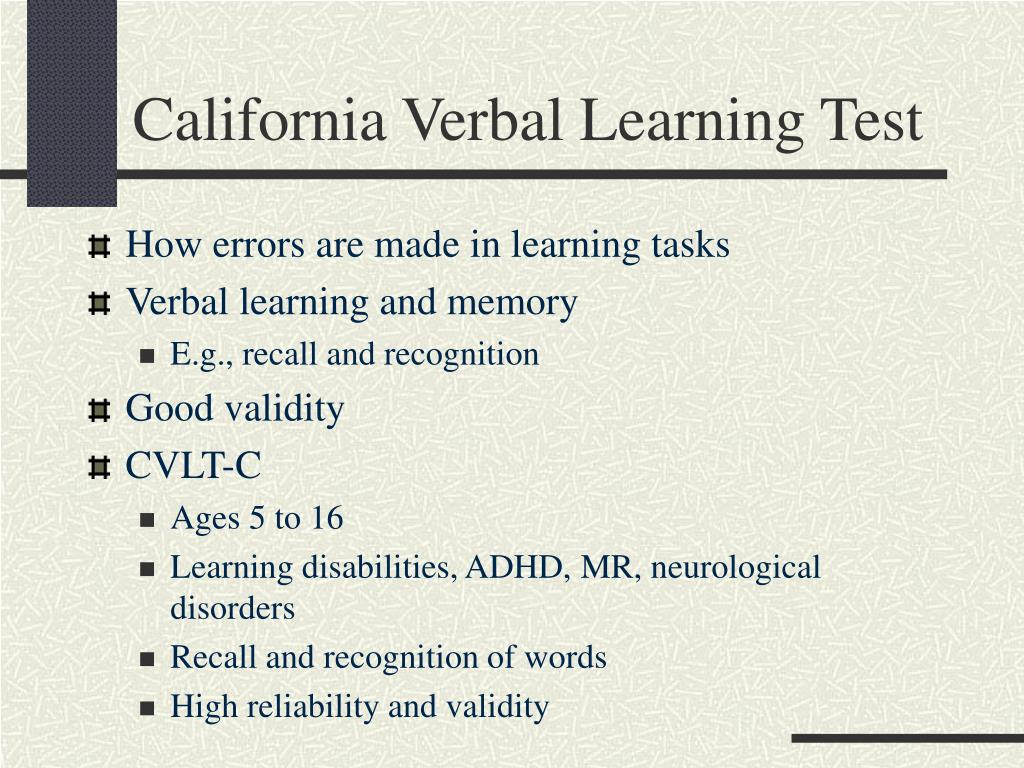 California Verbal Learning Test