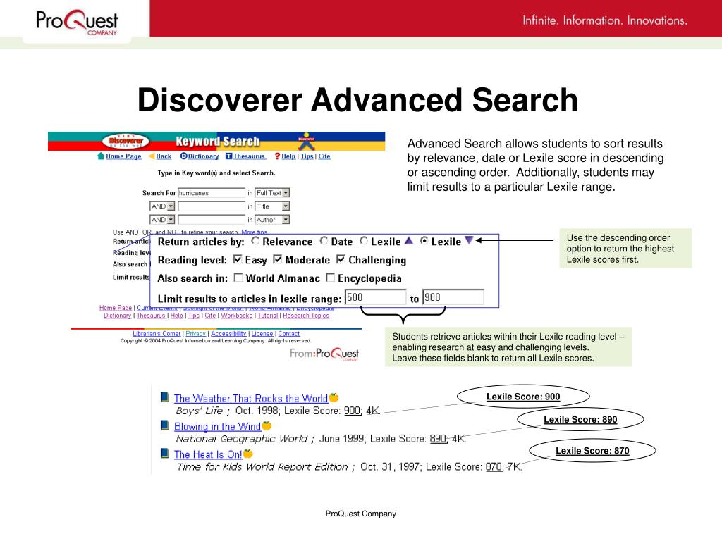 Discoverer Advanced Search