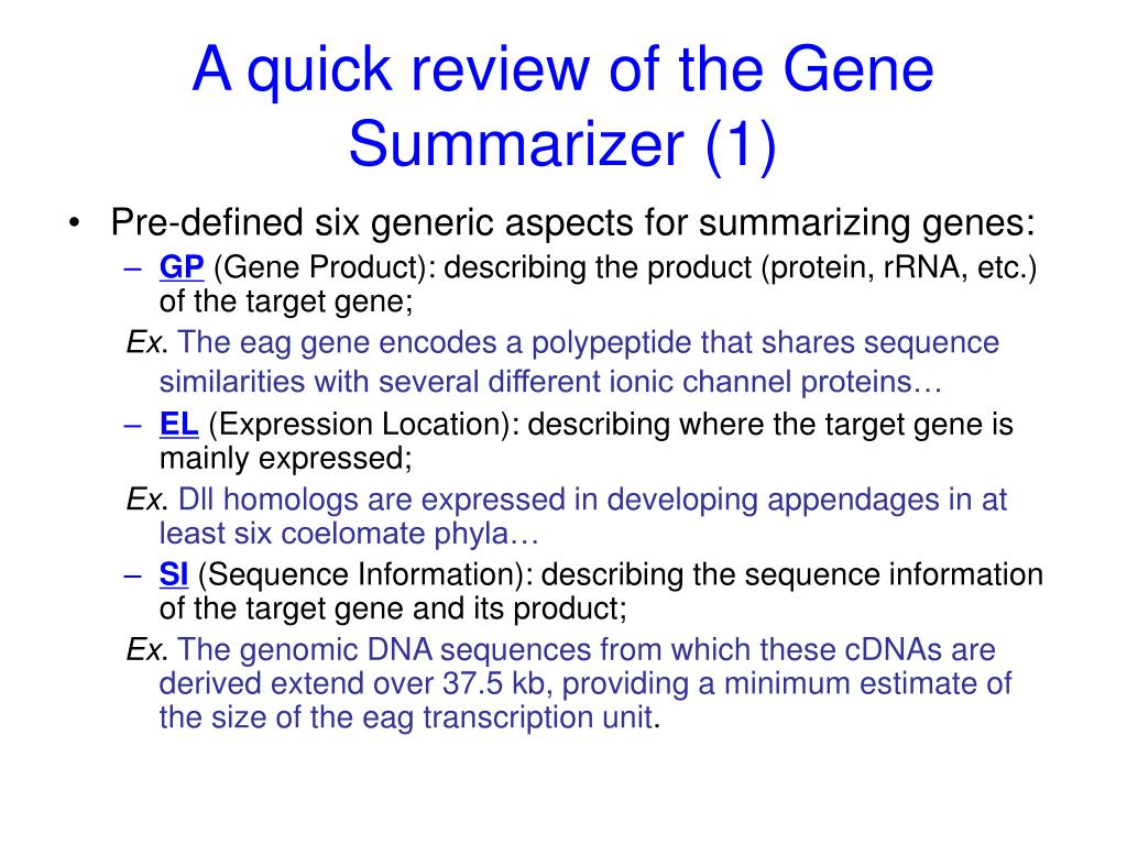 A quick review of the Gene Summarizer (1)