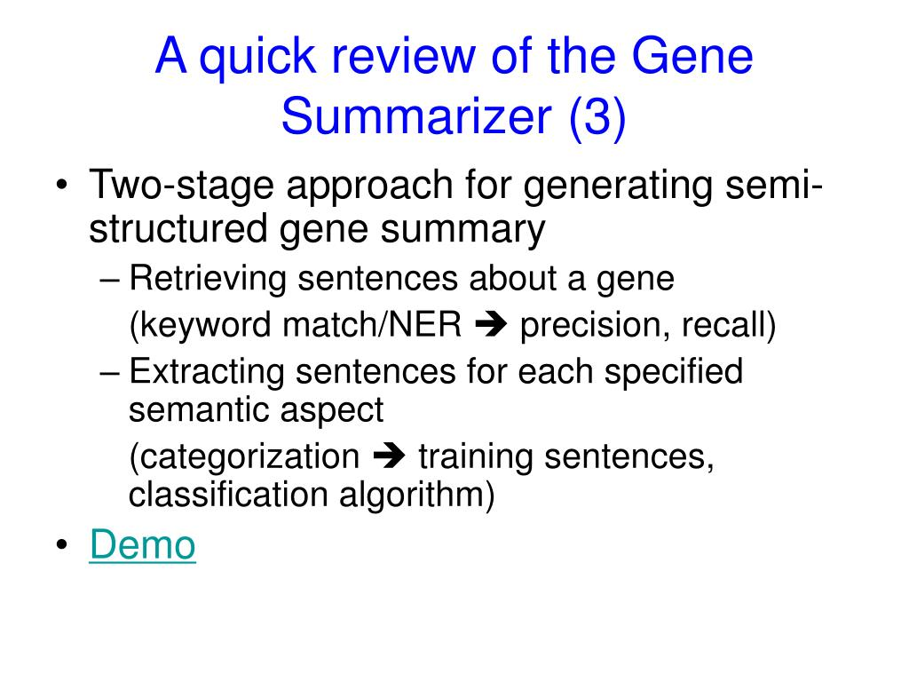 A quick review of the Gene Summarizer (3)