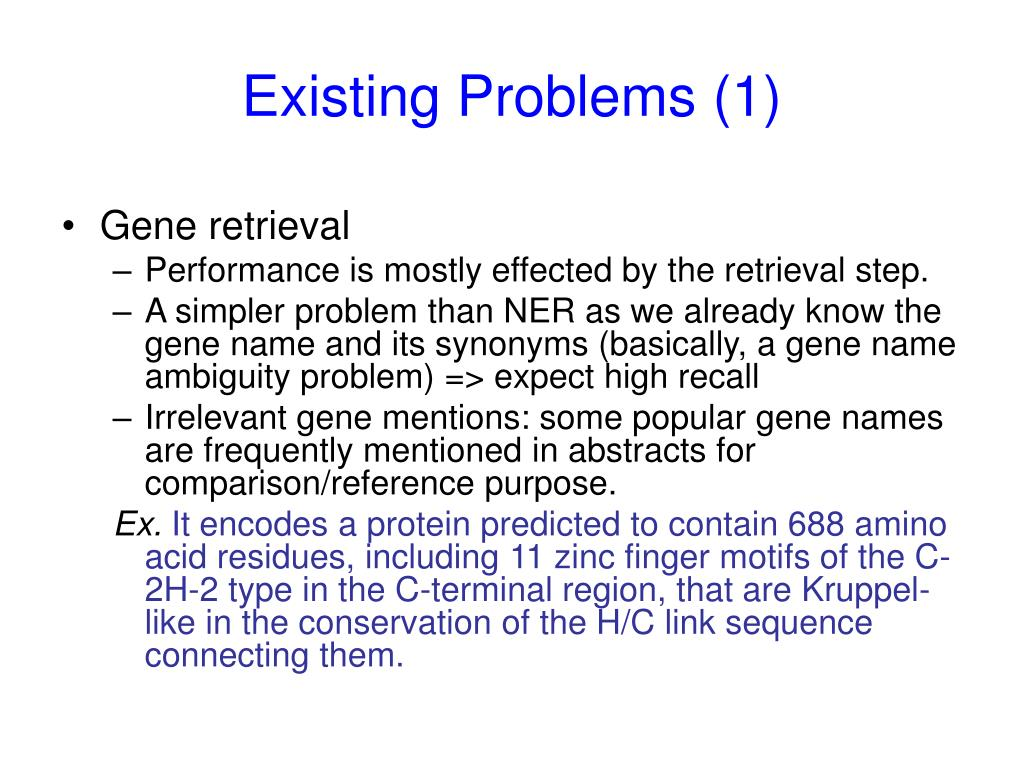 Existing Problems (1)
