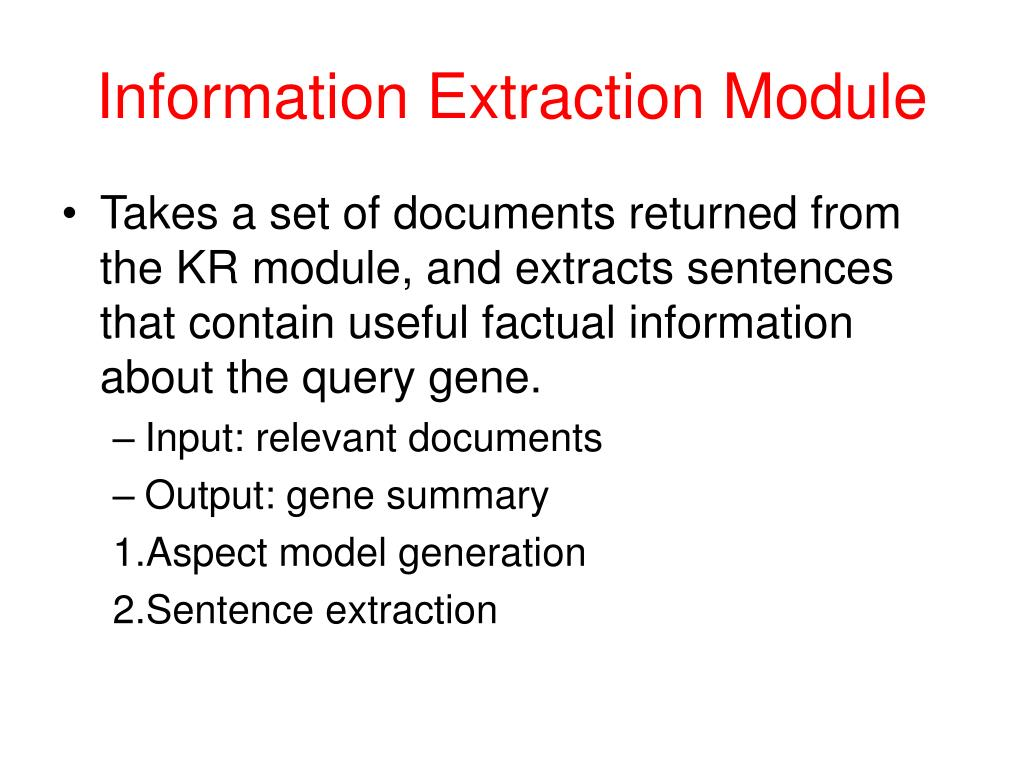 Information Extraction Module