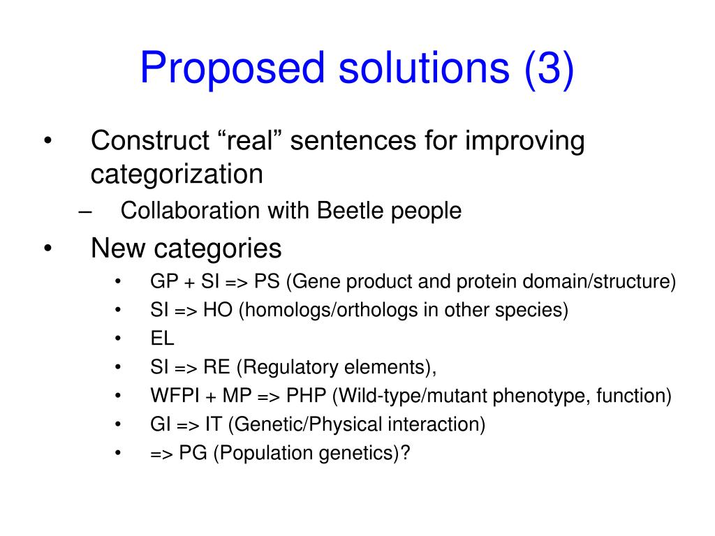 Proposed solutions (3)