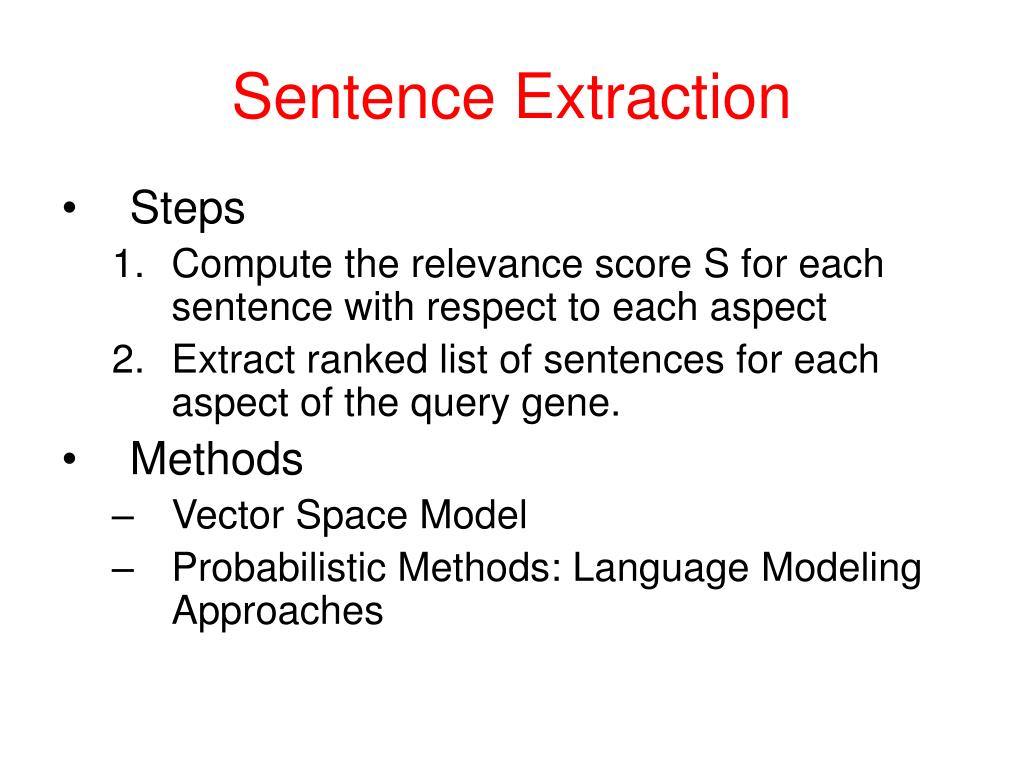 Sentence Extraction