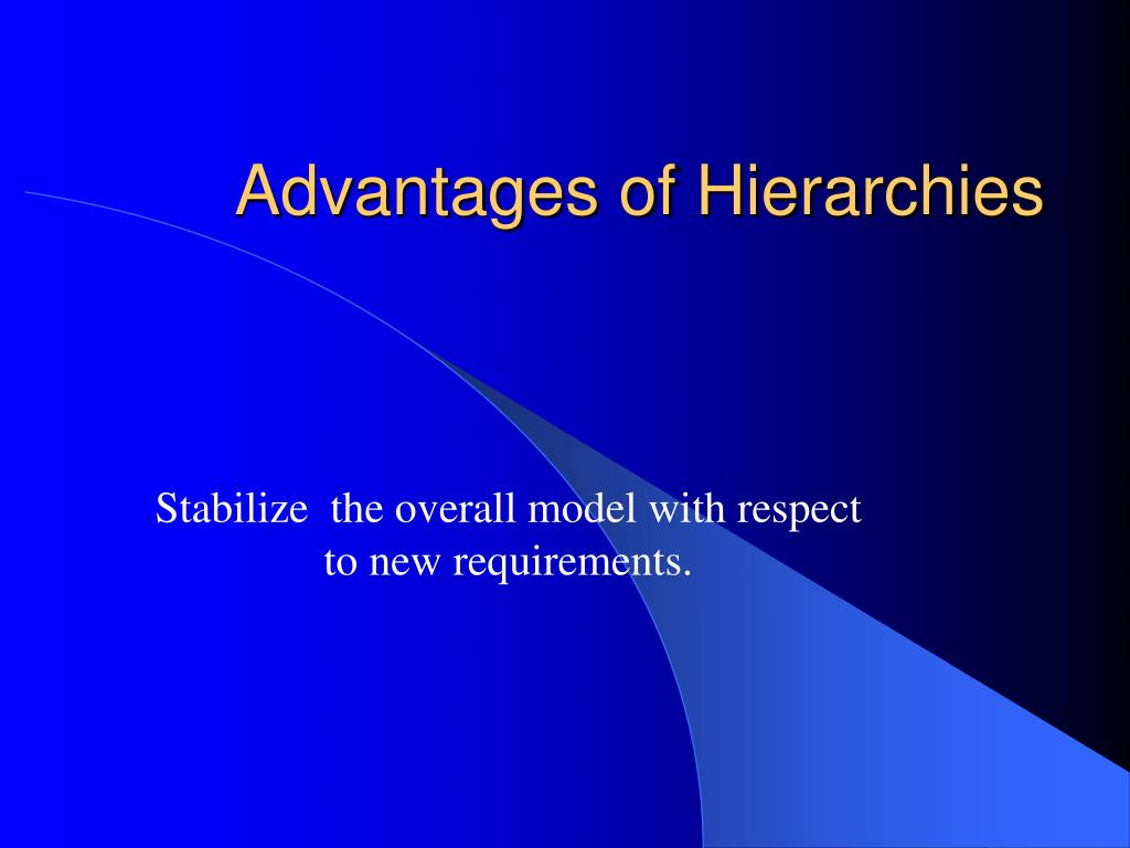 Advantages of Hierarchies