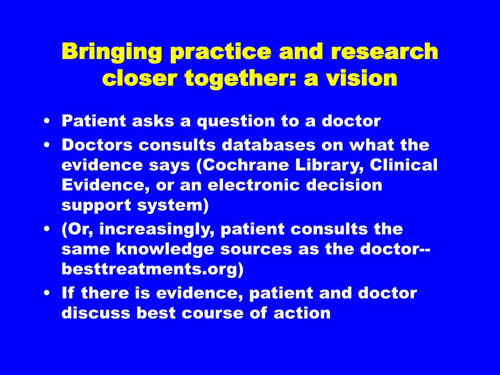 Bringing practice and research closer together: a vision