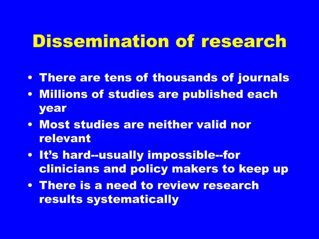 Dissemination of research