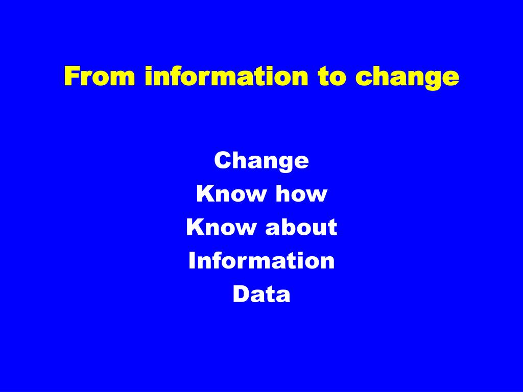 From information to change