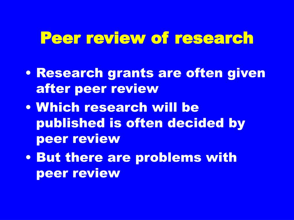 Peer review of research
