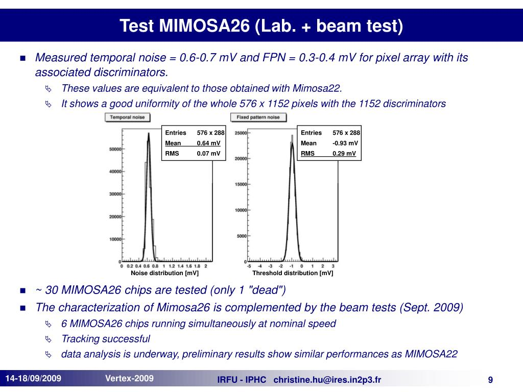 Test MIMOSA26 (Lab. + beam test)