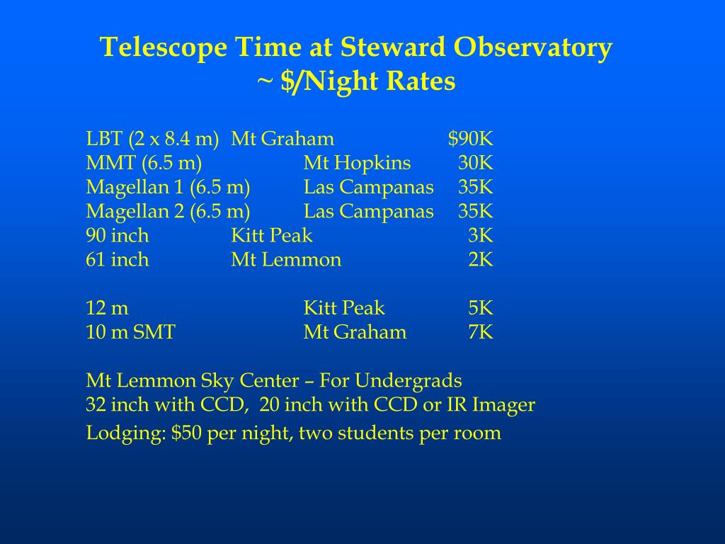 Telescope Time at Steward Observatory