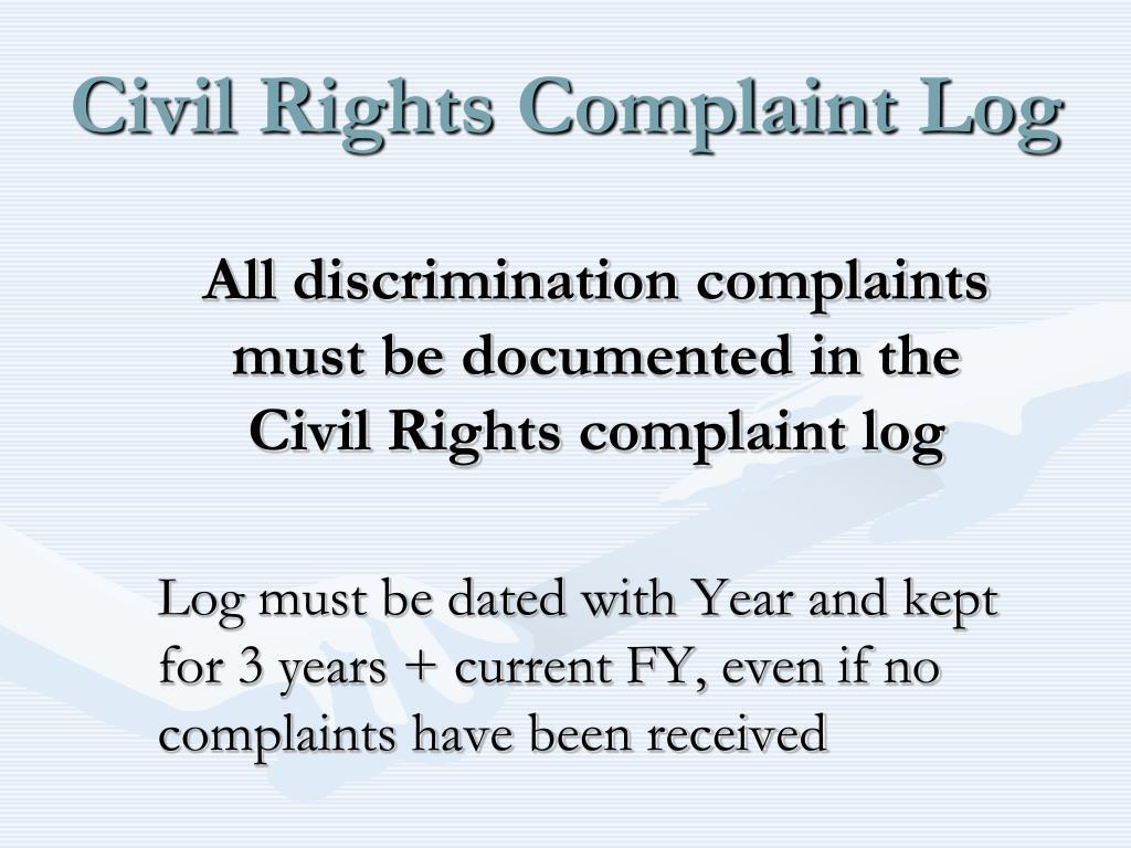 Civil Rights Complaint Log