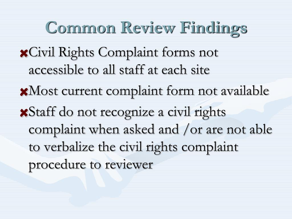 Common Review Findings