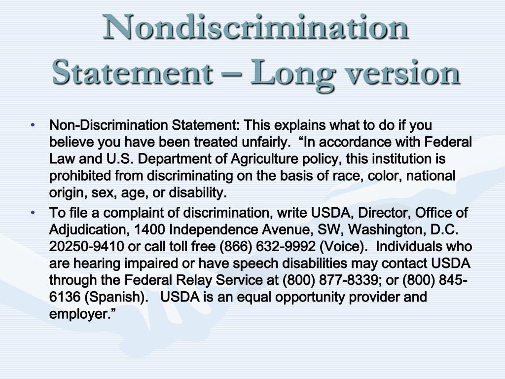 Nondiscrimination Statement – Long version