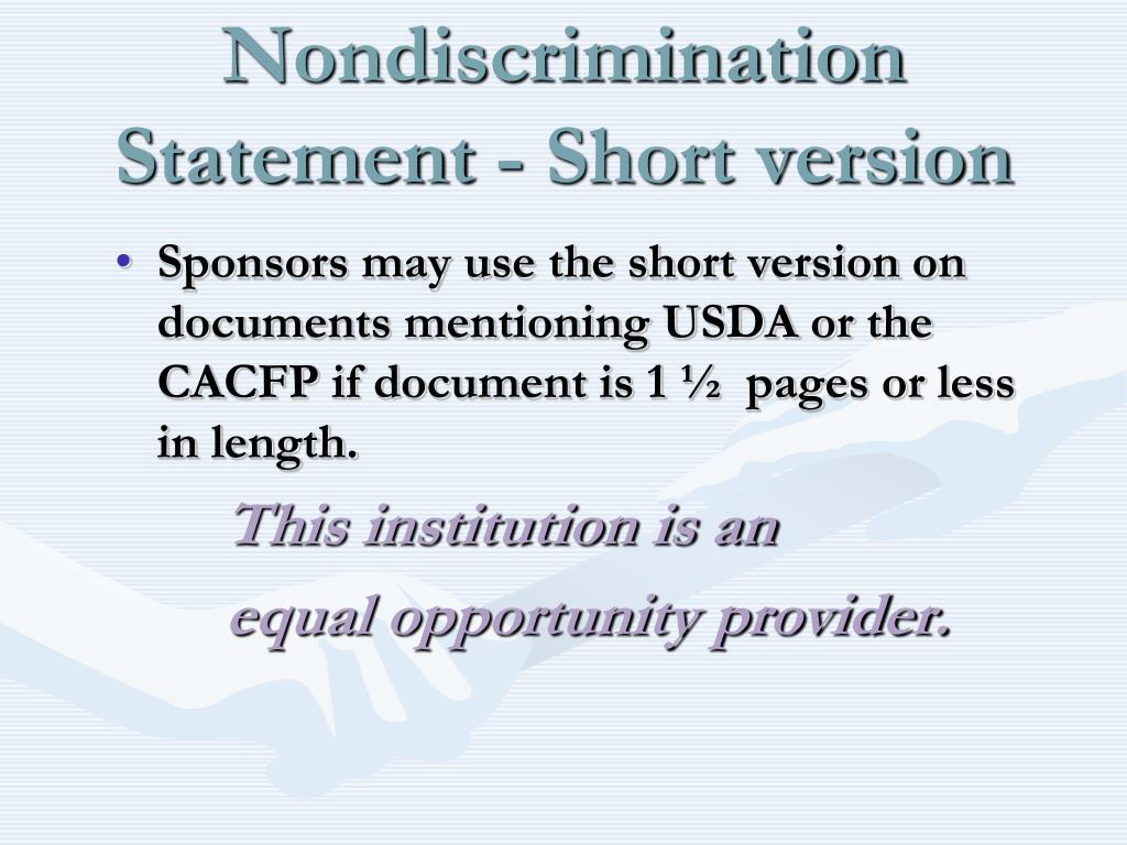 Nondiscrimination Statement - Short version