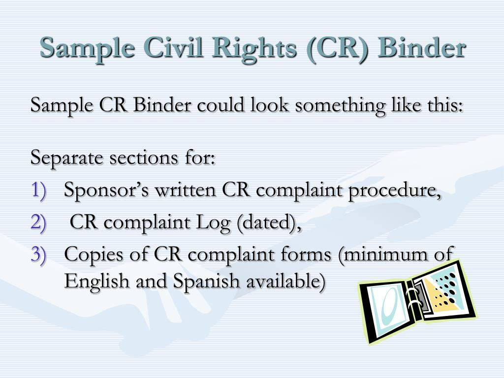 Sample Civil Rights (CR) Binder