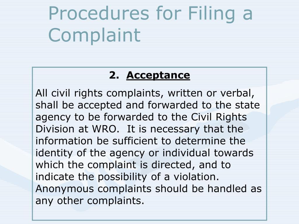 Procedures for Filing a Complaint