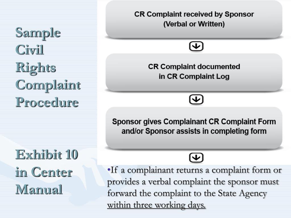 Sample Civil Rights Complaint Procedure