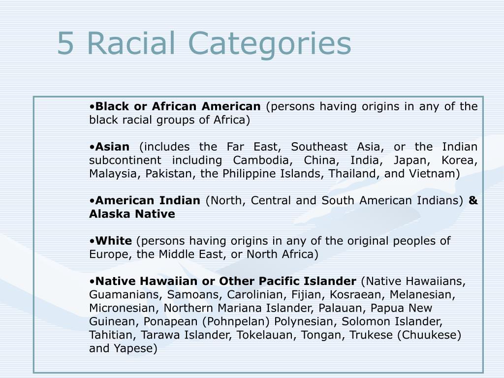 5 Racial Categories