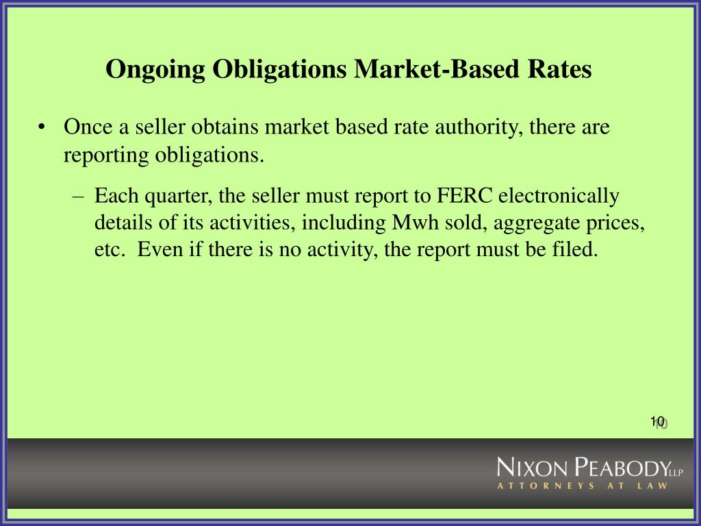 Ongoing Obligations Market-Based Rates