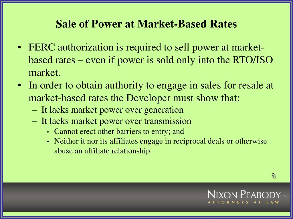 Sale of Power at Market-Based Rates