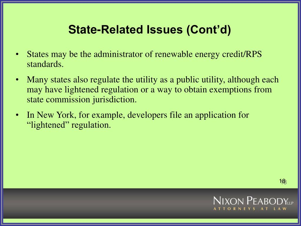 State-Related Issues (Cont'd)