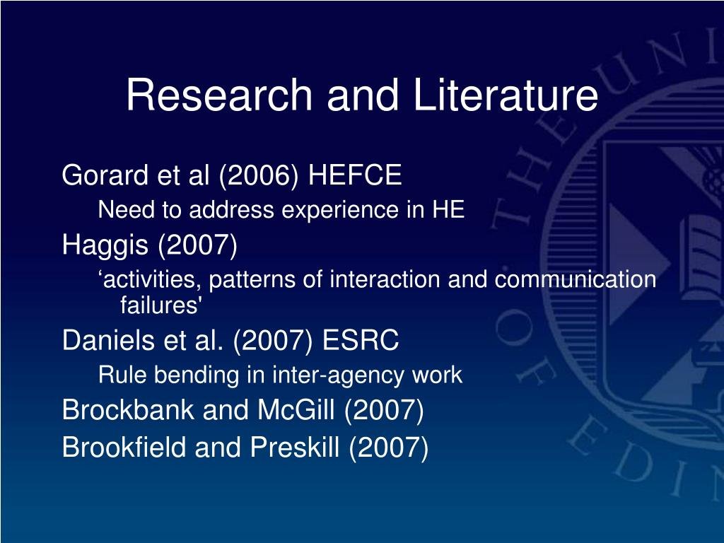 Research and Literature