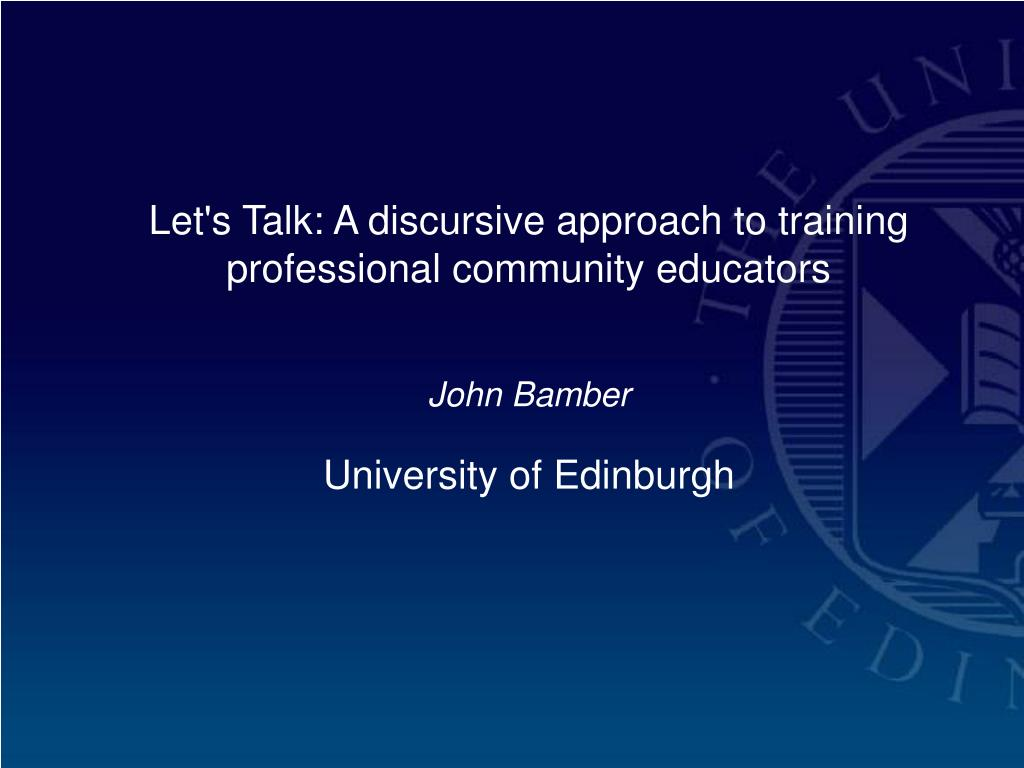 Let's Talk: A discursive approach to training