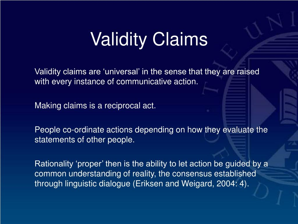 Validity Claims