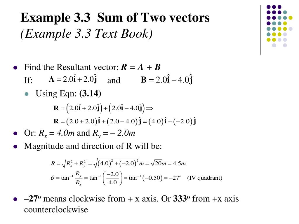 Example 3.3  Sum of Two vectors