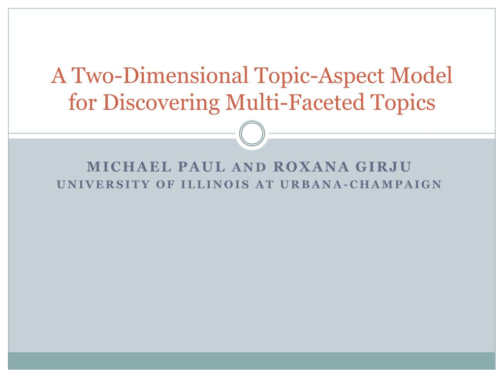 A Two-Dimensional Topic-Aspect Model