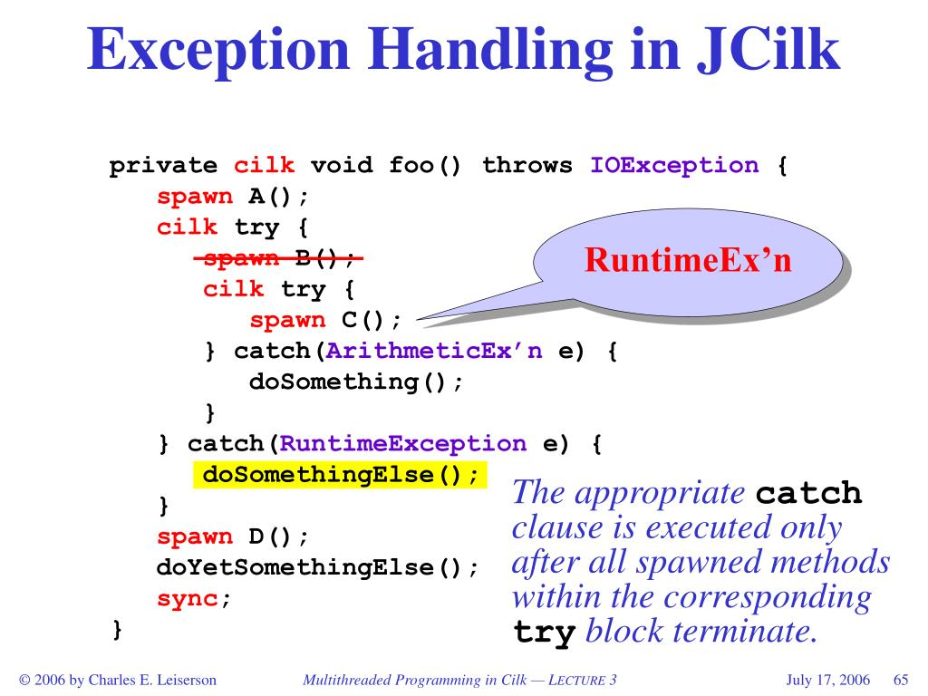 Exception Handling in JCilk