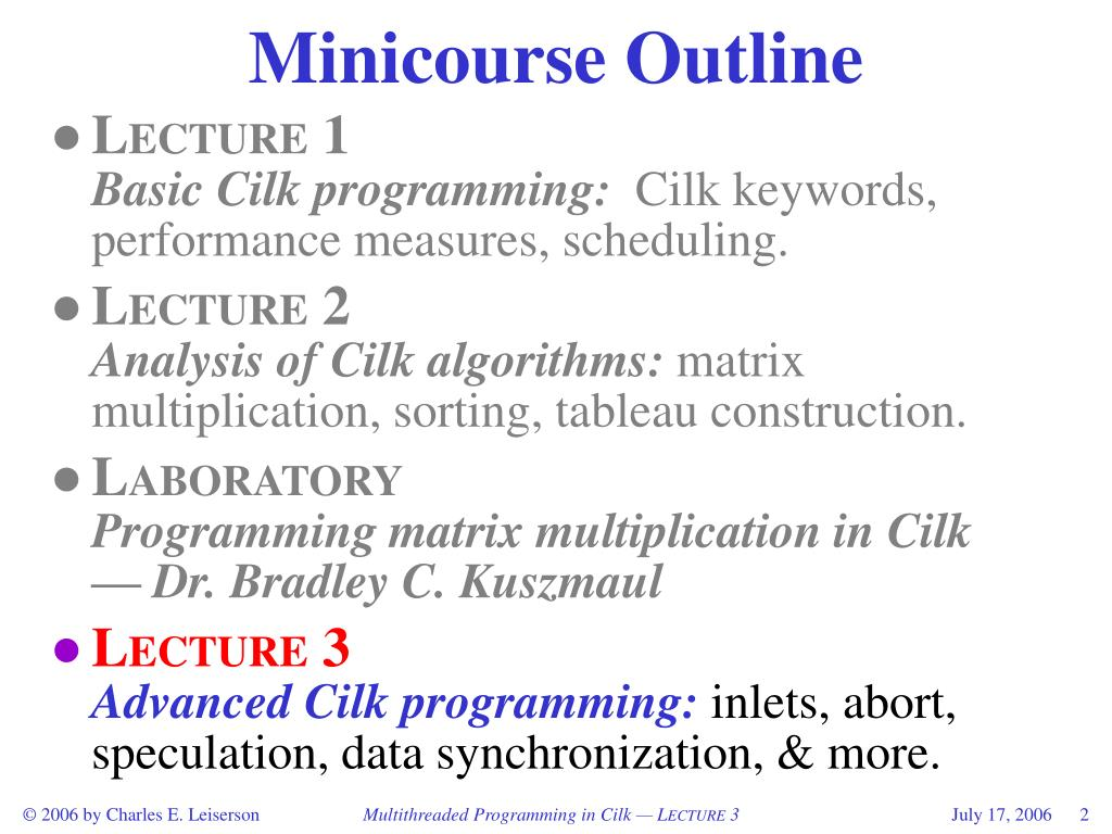 Minicourse Outline