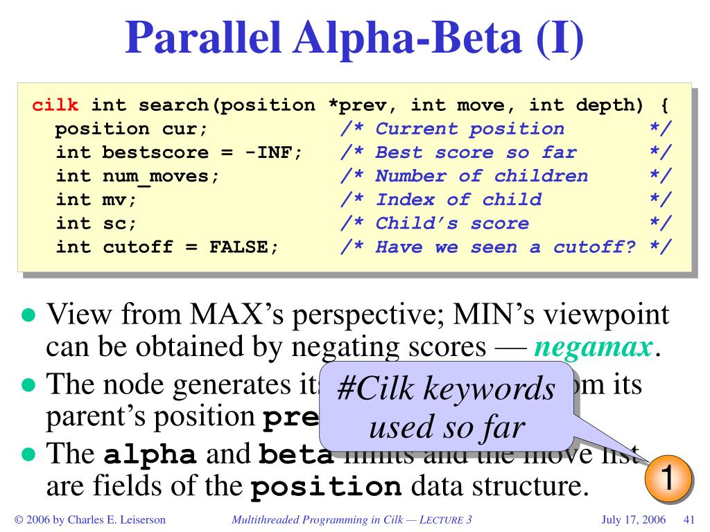 Parallel Alpha-Beta (I)